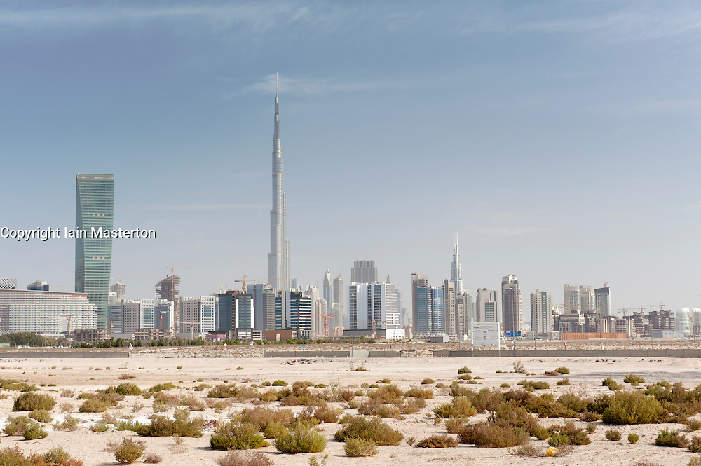Skyline of Dubai from the desert in United Arab Emirates  UAE