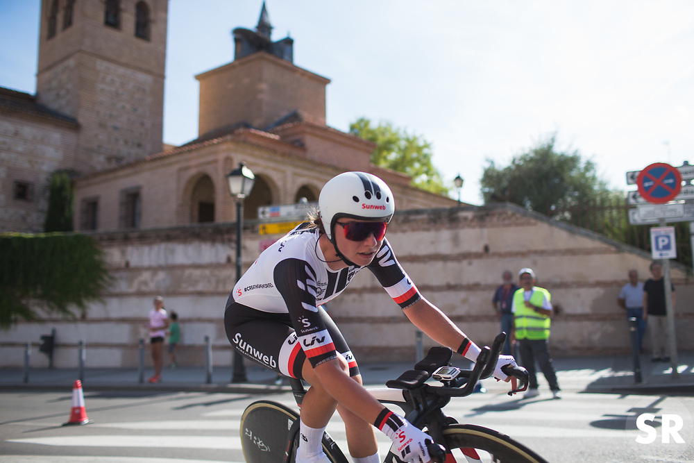 Liane Lippert (GER) of Team Sunweb leans into the final corner on Stage 1 of the Madrid Challenge - a 12.6 km team time trial, starting and finishing in Boadille del Monte on September 15, 2018, in Madrid, Spain. (Photo by Balint Hamvas/Velofocus.com)