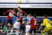 QPR get a ball in to the box during the Sky Bet Championship match between Queens Park Rangers and Ipswich Town at the Loftus Road Stadium, London, England on 6 February 2016. Photo by Andy Walter.