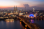 Europe, Germany, Cologne, view from the Triangle Tower in the district Deutz across the river Rhine to the city with the cathedral, Hohenzollern bridge, musical hall Musical Dom, television tower and the Cologne Tower.<br /> <br /> Europa, Deutschland, Koeln, Blick vom Triangle Tower in Deutz ueber den Rhein zum Zentrum mit Dom, Hohenzollernbruecke, Musical Dom, Fernsehturm und Koeln Turm.