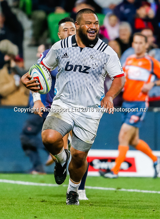 Andrew Makalio during Rebels v Crusaders, 2018 Super Rugby season, AAMI Park, Melbourne, Australia. 4 May 2018. Copyright Image: Brendon Ratnayake / www.photosport.nz