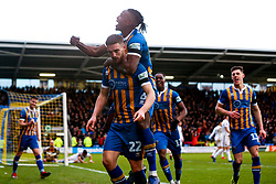 Luke Waterfall of Shrewsbury Town celebrates with teammates after scoring a goal to make it 2-0 - Mandatory by-line: Robbie Stephenson/JMP - 26/01/2019 - FOOTBALL - Montgomery Waters Meadow - Shrewsbury, England - Shrewsbury Town v Wolverhampton Wanderers - Emirates FA Cup fourth round