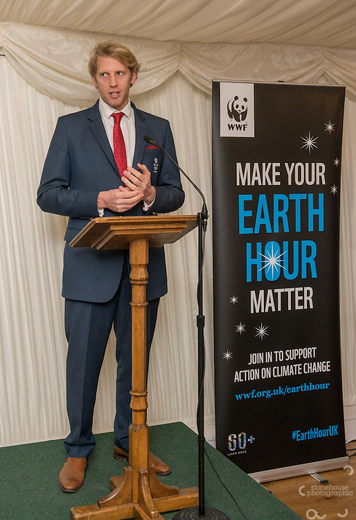 Andrew Triggs Hodge OBE presenting Earth Hour Hero awards at WWF UK Earth Hour 10th Anniversary Parliamentary Reception, Terrace Pavilion, Palace of Westminster. 28th Feb. 2017