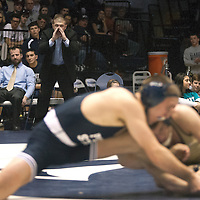 February 23, 2014; State College, PA, USA;  Clarion head coach Troy Letters screams out instructions to Tyler Bedelyon in his 141-pound match against Penn State's Zain Retherford at Rec Hall. Penn State defeated Clarion 43-3.