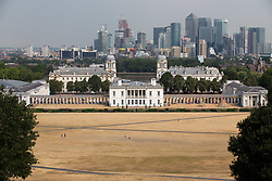 © Licensed to London News Pictures. 27/07/2018. London, UK. General view of Greenwich Park during hot weather. Temperatures in the capital reached over 30 degrees yesterday, as the UK experiences a prolonged heatwave. Thunder and lightning is forecast later today. Photo credit : Tom Nicholson/LNP