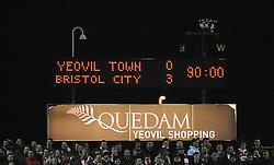 The Final scoreline reads Yeovil Town 0-3 Bristol City - Photo mandatory by-line: Harry Trump/JMP - Mobile: 07966 386802 - 10/03/15 - SPORT - Football - Sky Bet League One - Yeovil Town v Bristol City - Huish Park, Yeovil, England.