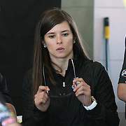 NASCAR Sprint Cup driver Danica Patrick is seen in the garage area prior to her NASCAR Daytona 500 practice session at Daytona International Speedway on Wednesday, February 20, 2013 in Daytona Beach, Florida.  (AP Photo/Alex Menendez)