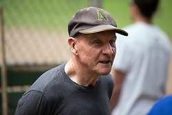 Gary Robinson, who founded the league with Lewis Dolinsky, chats with former players as the Montclair softball league celebrates its 50th season, Saturday, April 22, 2017, at Montclair Park in Oakland, Calif. The pickup softball game, played every Saturday by a group of enthusiasts ranging in age from 20 to 75, started in 1968 in Berkeley and moved to Montclair about 25 years ago. (Photo by D. Ross Cameron)