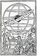 Ptolemy, right, and Astronomy, beneath a geocentric armillary sphere. Woodcut 1515.