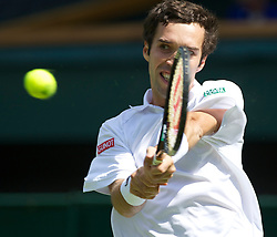 LONDON, ENGLAND - Tuesday, June 21, 2011: Mikhail Kukushkin (KAZ) in action during the Gentlemen's Singles 1st Round match on day two of the Wimbledon Lawn Tennis Championships at the All England Lawn Tennis and Croquet Club. (Pic by David Rawcliffe/Propaganda)