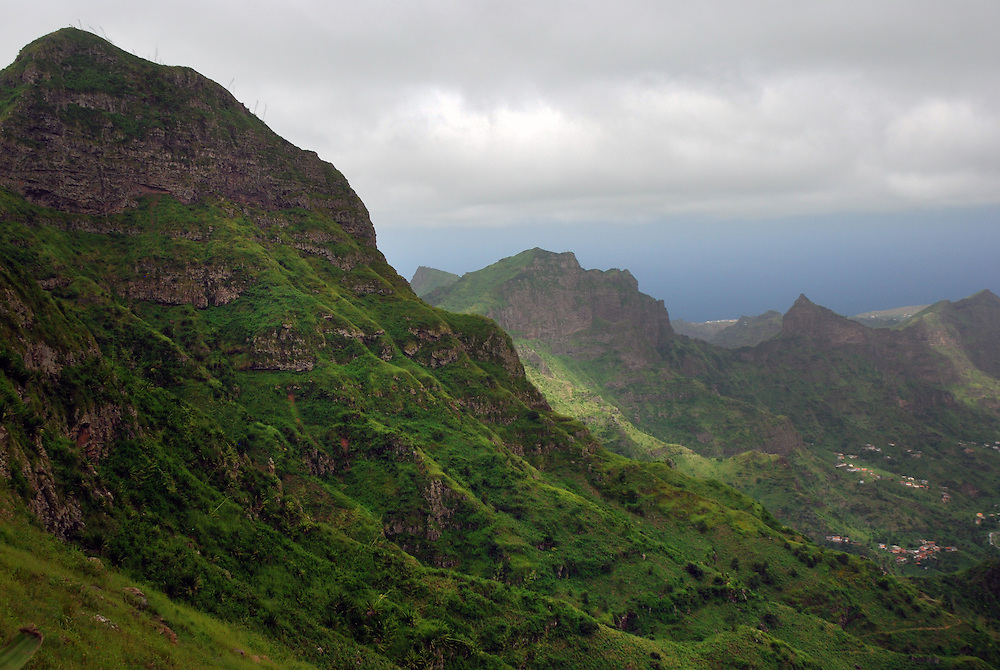 The rugged, mountainous interior of Santiago Island is verdant and lush following rains.  Central mountain range, Santiago Island, Cape Verde (Capo Verde).