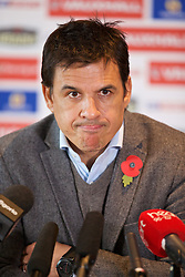 CARDIFF, WALES - Wednesday, November 4, 2015: Wales' manager Chris Coleman during a press conference at the St. David's Hotel to announce his squad to face the Netherlands in an international friendly match. (Pic by David Rawcliffe/Propaganda)