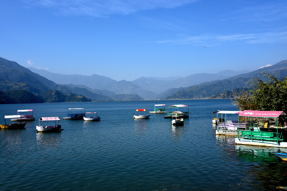 Pokhara lake view and mountains, Nepal
