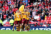 Tom Aldred (#19) of Motherwell celebrates Motherwell's first goal (0-1) scored by Curtis Main (#9) of Motherwell during the William Hill Scottish Cup Semi-Final match between Motherwell and Aberdeen at Hampden Park, Glasgow, United Kingdom on 14 April 2018. Picture by Craig Doyle.