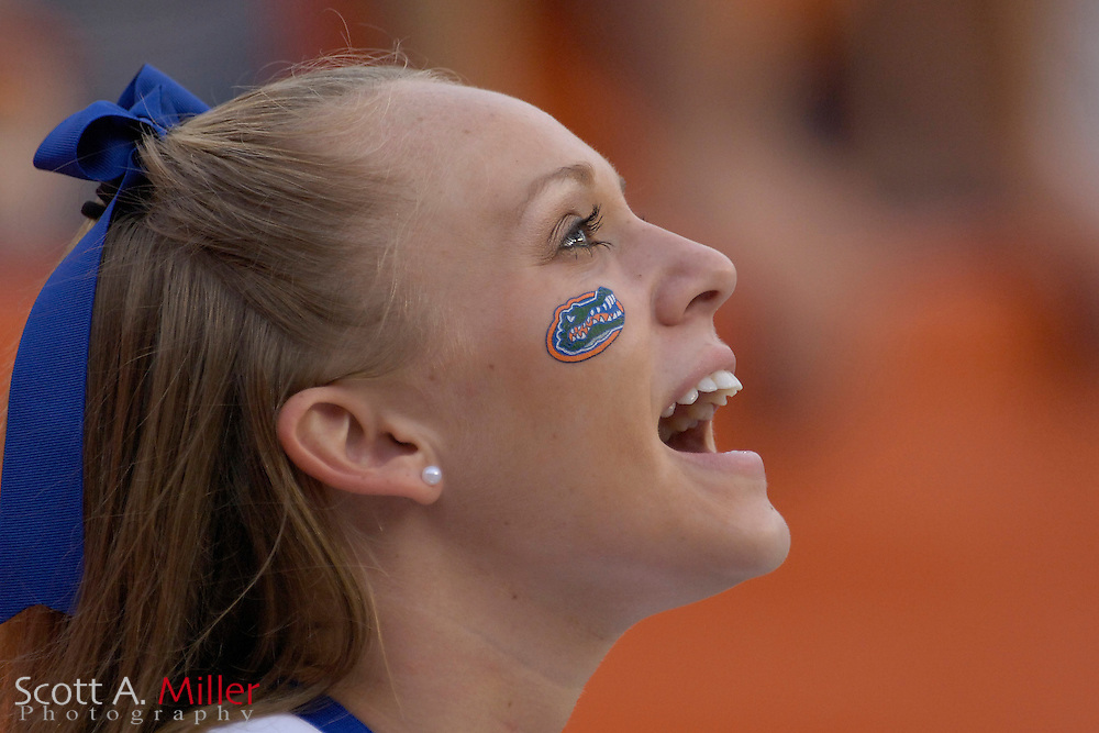 Sept. 9, 2006; Gainesville, FL, USA; A Florida Gators cheerleader during the first half of the Gators game against the Central Florida Golden Knights at Ben Hill Griffin Stadium. ...©2006 Scott A. Miller