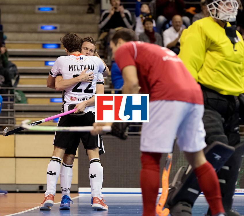 BERLIN - Indoor Hockey World Cup<br /> Women: Ukraine - Germany<br /> foto: Marco Miltkau and Mats Grambusch celebrate.<br /> WORLDSPORTPICS COPYRIGHT FRANK UIJLENBROEK
