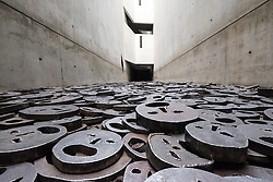 "Memory Void containing work ""Fallen Leaves"" by artist Menashe Kaddishman at Jewish Museum , in Berlin, Germany (Leerstelle des Gedenkens)"