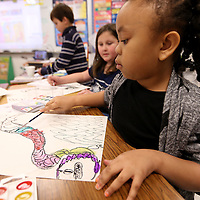 Adam Robison | BUY AT PHOTOS.DJOURNAL.COM<br /> Jaidyn Wright, a second grader at Pontotoc Elementary School in Leslie Hilliard's class, uses water colors on her Chinese dragon during the classes art integration project.