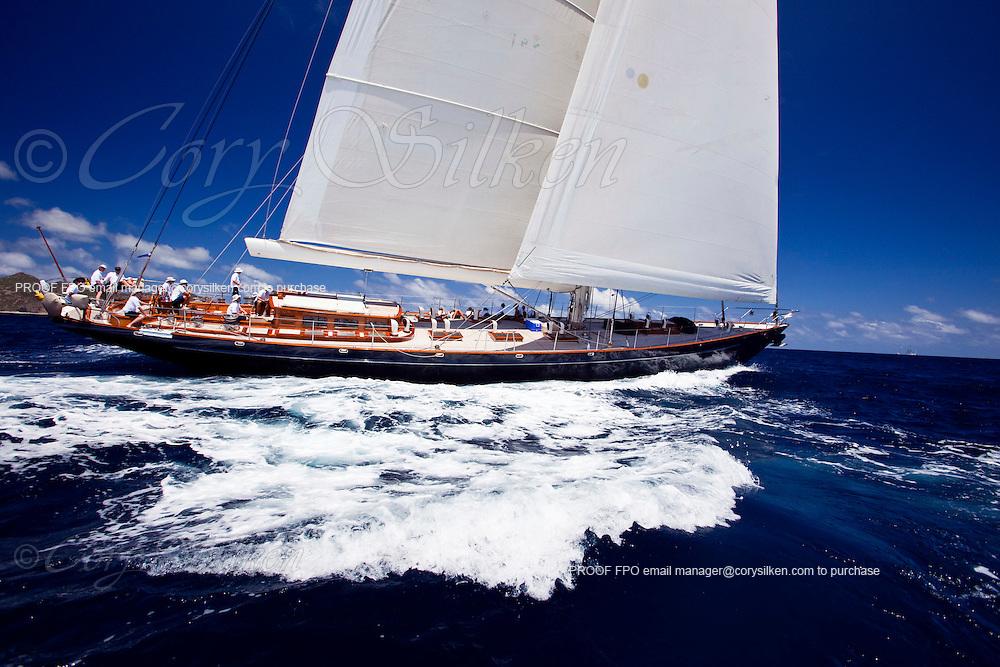 Shamoun sailing in the 2010 St. Barth's Bucket superyacht regatta, race 1.