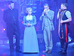 © Licensed to London News Pictures. 12/02/2016. © Licensed to London News Pictures. 12/02/2016. Cast members JIMMY NAIL,HEIDI RANGE,  MICHAEL PRAED and DANIEL BEDINGFIELD appear in costume for a photocall for H.G Wells classic War Of The Wells at the Dominion Theatre.  London, UK. Photo credit: Ray Tang/LNP