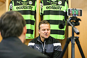 Forest Green Rovers manager, Mark Cooper is interviewed by the local media during the Forest Green Rovers Press Conference and Training session at the New Lawn, Forest Green, United Kingdom on 12 May 2017. Photo by Shane Healey.
