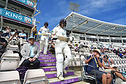 Jimmy Adams of Hampshire and Joe Weatherley of Hampshire walking out to bat during the Specsavers County Champ Div 1 match between Hampshire County Cricket Club and Surrey County Cricket Club at the Ageas Bowl, Southampton, United Kingdom on 11 June 2018. Picture by Graham Hunt.