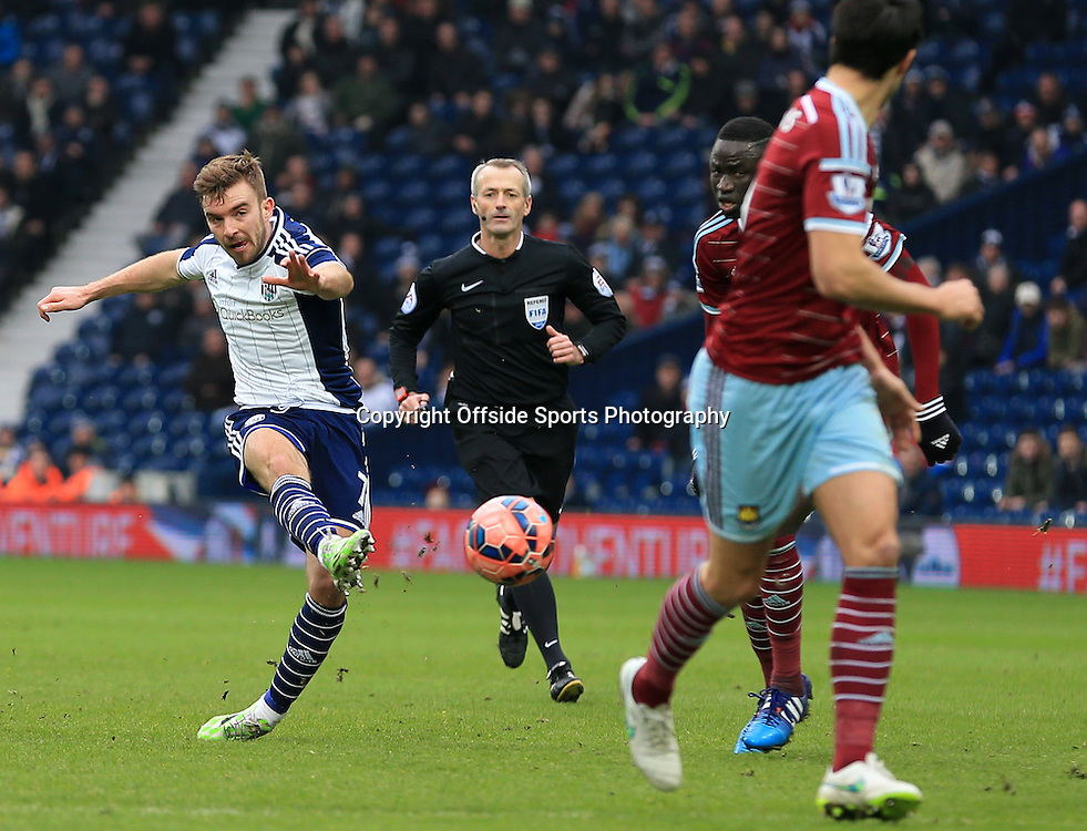 14th February 2015 - FA Cup 5th Round - West Bromwich Albion v West Ham United - James Morrison of West Bromwich Albion shoots from 20 yards to score a spectacular goal (2-0) - Photo: Paul Roberts / Offside.