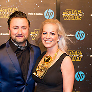 NLD/Amsterdam/20151215 - première van STAR WARS: The Force Awakens!, Dennis Weening en partner Stella