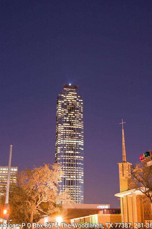 Transco Tower, also called Williams Tower, at twilight in the Galleria area of Houston, Texas.