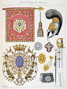 French military accoutrements including sword of the bodyguard of the heir to the throne.   From 'Histoire de la maison militaire du Roi de 1814 a 1830' by Eugene Titeux, Paris, 1890.