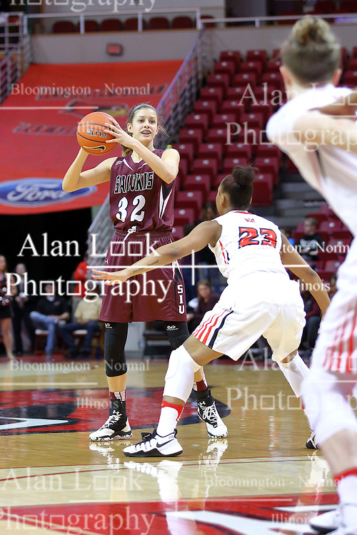 29 January 2017: Kylie Giebelhausen defended by Viria Livingston during an College Missouri Valley Conference Women's Basketball game between Illinois State University Redbirds the Salukis of Southern Illinois at Redbird Arena in Normal Illinois.