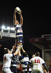 Bristol Rugby lock, Ben Glynn rises for the line out ball - Photo mandatory by-line: Paul Knight/JMP - Mobile: 07966 386802 - 05/12/2014 - SPORT - Rugby - Bristol - Ashton Gate - Bristol Rugby v London Scottish - B&I Cup