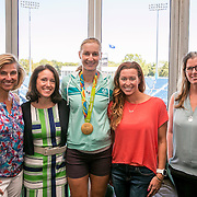 August 22, 2016, New Haven, Connecticut: <br /> Tournament Director Anne Worcester, Jill Hummel of Anthem BlueCross BlueShield, WTA player Ekaterina Makarova, former Olympian Brooke Bennett, and ESPNW Reporter Jane McManus pose for a photograph during the Anthem Symposium during Day 4 of the 2016 Connecticut Open at the Yale University Tennis Center on Monday August  22, 2016 in New Haven, Connecticut. <br /> (Photo by Billie Weiss/Connecticut Open)