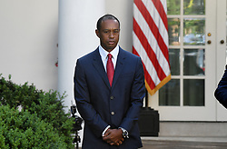 Golf legend Tiger Woods looks on during the Presidential Medal of Freedom ceremony in the Rose Garden at the White House, May 6, 2019 in Washington, DC. Photo by Olivier Douliery/ABACAPRESS.COM