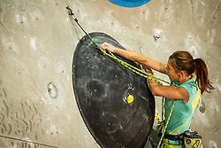 Mina Markovic (SLO) during women final competition of IFSC Climbing World Cup Kranj 2014, on November 16, 2014 in Arena Zlato Polje, Kranj, Slovenia. (Photo By Grega Valancicr / Sportida.com)