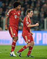 FUSSBALL  CHAMPIONS LEAGUE  VIERTELFINALE  RUECKSPIEL  2012/2013      Juventus Turin - FC Bayern Muenchen        10.04.2013 Emotional: Dante (li) und Philipp Lahm (re, beide FC Bayern Muenchen)