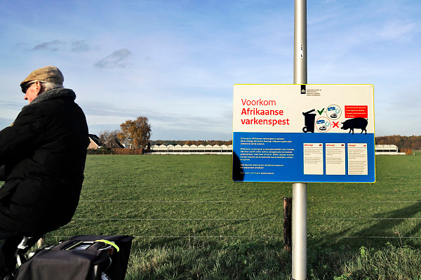 Nederland, Ottersum, 15-11-2018Langs de weg in het landelijk gebied, platteland, staat een waarschuwingsbord tegen de afrikaanse varkenspest, een zeer besmettelijke en fatale ziekte voor varkens die in Belfie gesignaleerd is. Het bord staat bij een tankstation waar veel mensen uit duitsland en polen tankenFoto: Flip Franssen
