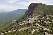 The Serra da Leba pass. A winding road leading down the Chela escarpment towards Namibe Province. Huila Province, Angola. Africa. .Pictures © Z & D Lightfoot..www.lightfootphoto.co.uk