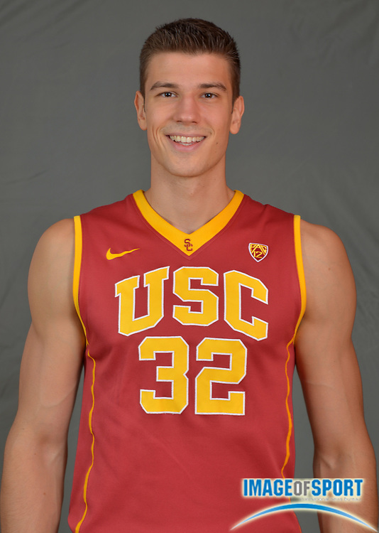 Sep 25, 2015; Los Angeles, CA, USA: Southern California Trojans forward Nikola Jovanovic (32) poses at portrait session at the Galen Center.