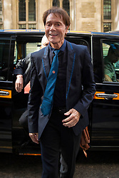 © Licensed to London News Pictures. 18/04/2018. London, UK. SIR CLIFF RICHARD arrives at the Rolls Building of the High Court in London where he is claiming damages against the BBC for loss of earnings. The 77-year-old singer is suing the corporation after his home in Sunningdale, Berkshire was raided following allegations of sexual assault made to Metropolitan Police. Photo credit: Rob Pinney/LNP