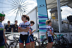 Joelle Numainville (CAN) of Cervélo-Bigla Cycling Team enjoys a quick chat with Tayler Wiles (USA) of Orica-AIS Cycling Team before the start of the La Course, a 89 km road race in Paris on July 24, 2016 in France.