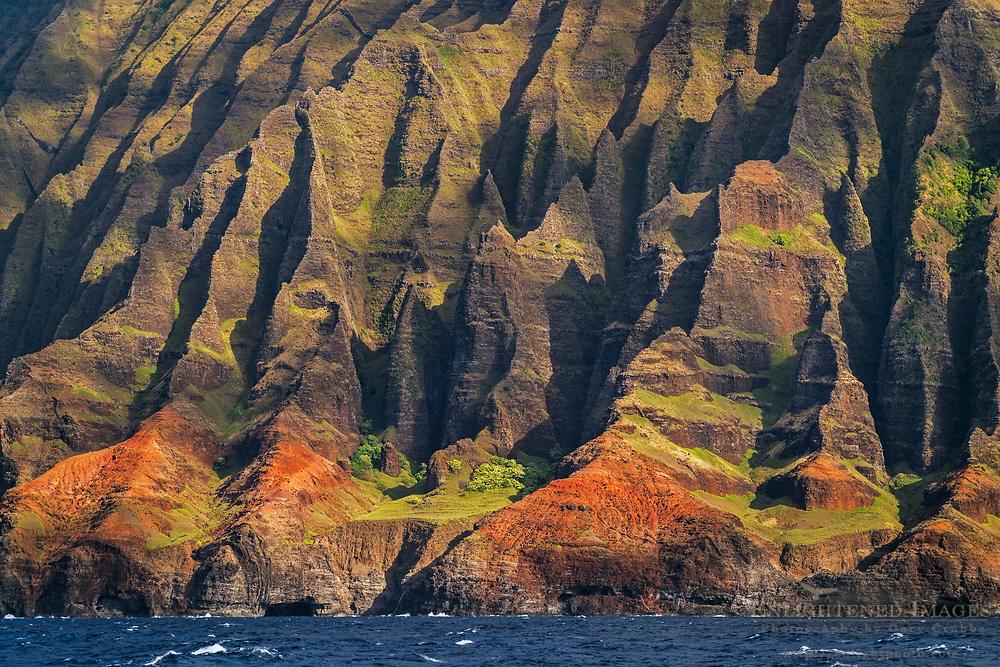 Steep Rugged cliffs and ridges  of the Na Pali Coast, Kauai, Hawaii