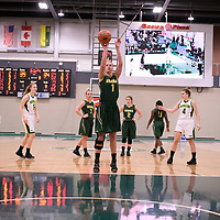 5th year forward Charlotte Kot (1) of the Regina Cougars during the Women's Basketball home game on November 11 at Centre for Kinesiology, Health and Sport. Credit: Arthur Ward/Arthur Images