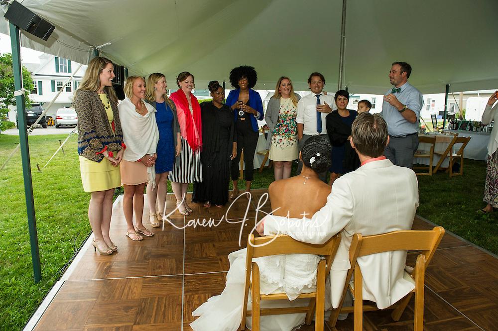 Jen and Tony's Wedding Day.  Under the Tent ~ Reception.  York, Maine.  ©2015 Karen Bobotas Photographer