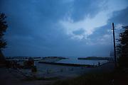 "A wall towards future tsunamis are being built at Obama Beach (""Small Beach"" in Japanese), Iwaki, Fukushima Prefecture, Japan."