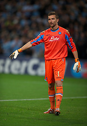 MANCHESTER, ENGLAND - Wednesday, September 14, 2011: SSC Napoli;s Morgan De Sanctis during the UEFA Champions League Group A match at the City of Manchester Stadium. (Photo by Chris Brunskill/Propaganda)