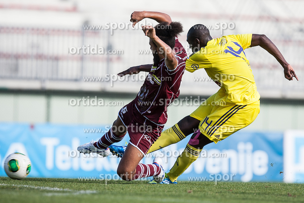 Lamin Diallo of NK Triglav and Jean Philippe Mendy of NK Maribor during football match between NK Triglav Kranj and NK Maribor, 7th Round of Prva Liga, on 24 August, 2013, in Sportni center Kranj, Slovenia. (Photo by Grega Valancic / Sportida)