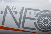 Detail of EasyJet's Airbus A321 NEO at the Farnborough Airshow, on 18th July 2018, in Farnborough, England.