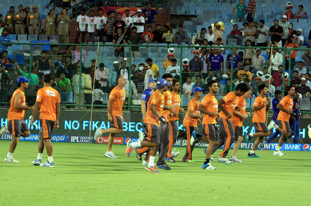 Rajasthan Royals players during warmup session before match 23 of the Pepsi Indian Premier League Season 2014 between the Delhi Daredevils and the Rajasthan Royals held at the Feroze Shah Kotla cricket stadium, Delhi, India on the 3rd May  2014<br /> <br /> Photo by Arjun Panwar / IPL / SPORTZPICS<br /> <br /> <br /> <br /> Image use subject to terms and conditions which can be found here:  http://sportzpics.photoshelter.com/gallery/Pepsi-IPL-Image-terms-and-conditions/G00004VW1IVJ.gB0/C0000TScjhBM6ikg
