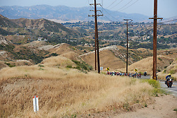 The peloton approach at Amgen Tour of California Women's Race empowered with SRAM 2019 - Stage 3, a 126 km road race from Santa Clarita to Pasedena, United States on May 18, 2019. Photo by Sean Robinson/velofocus.com